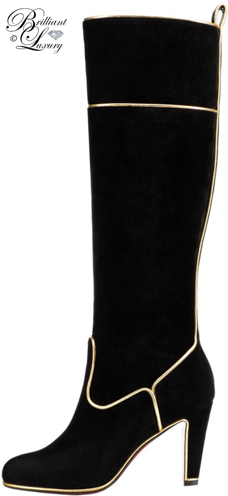 Brilliant Luxury ♦ Christian Louboutin Louloubottaveau Velours Piping Lame Boot