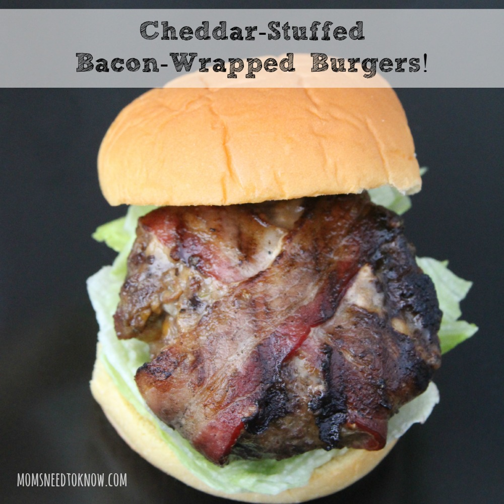 bacon wrapped cheddar stuffed burgers mom s need to know