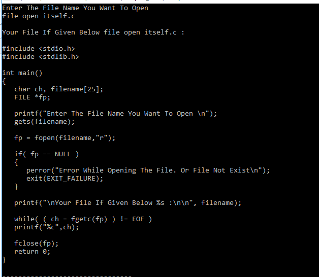 C Program to Display its own Source Code as Output Using File Handling