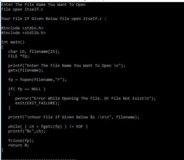 C Program For Open A File (Or Open A Same Program Itself ) Itself Using File Handling