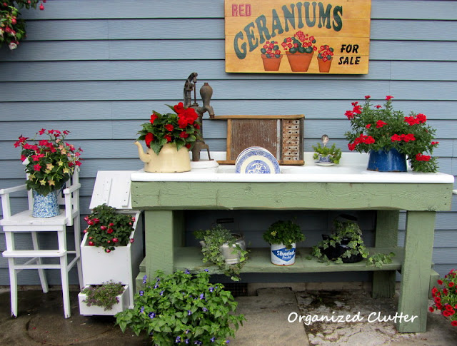 Potting Sink/Bench Decorated like a Kitchen