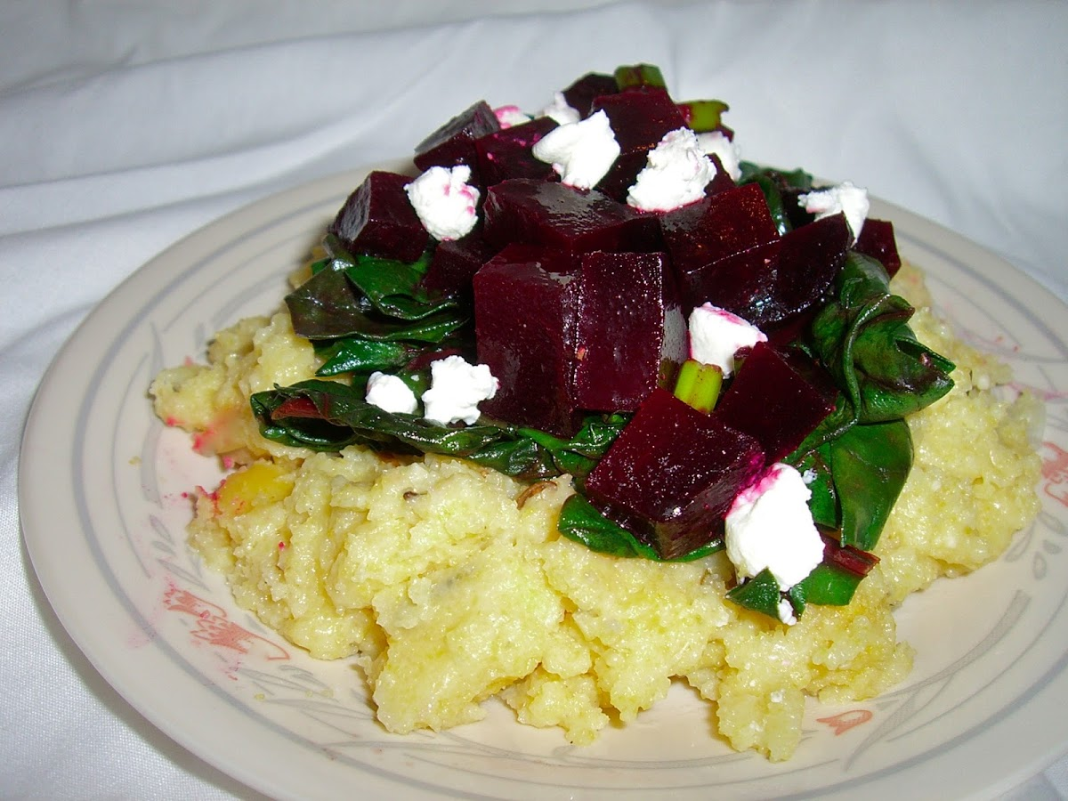 Rosemary Polenta with Citrus Beet Salad and Wilted Chard
