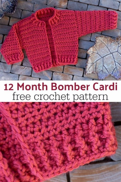 Infant Bomber Cardi (12 month) - Free Crochet Pattern