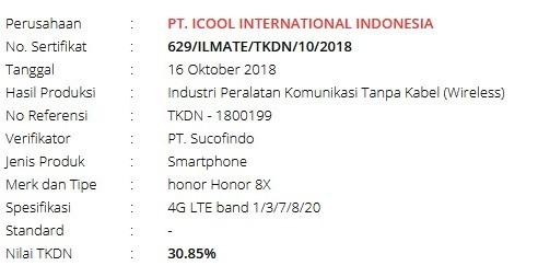 Sertifikat TKDN Honor 8x