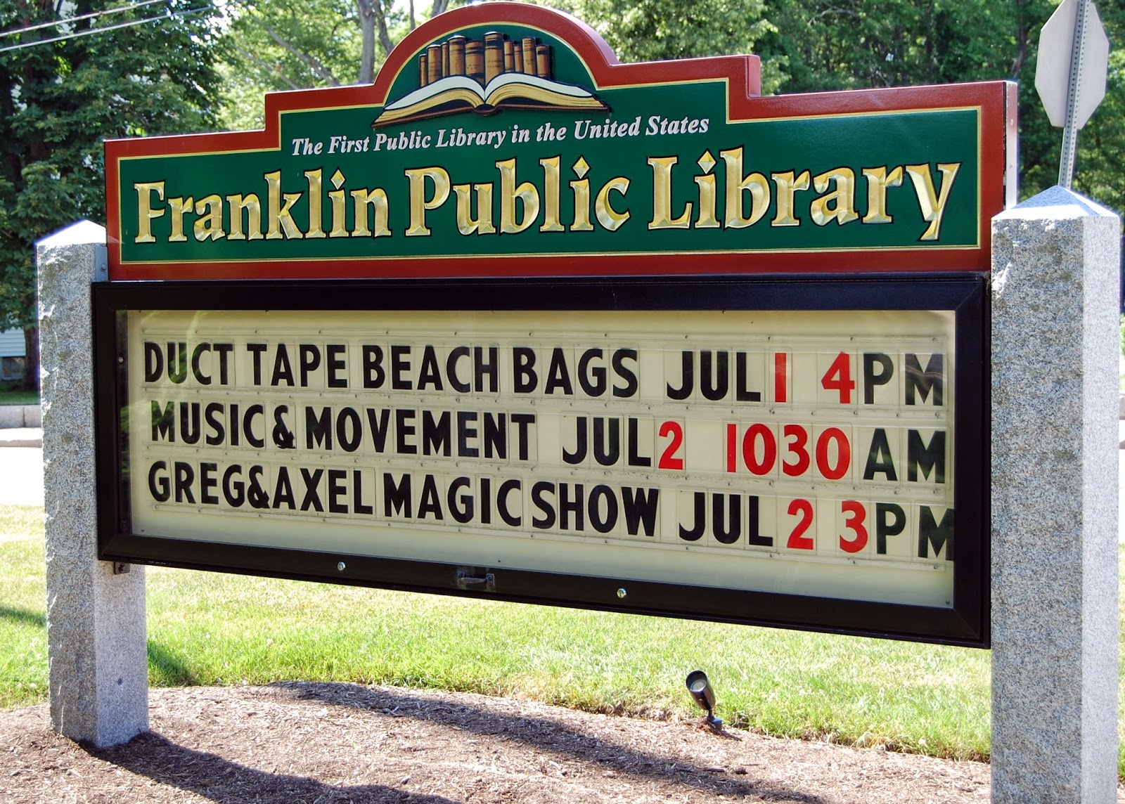 Franklin Public Library schedule for the week