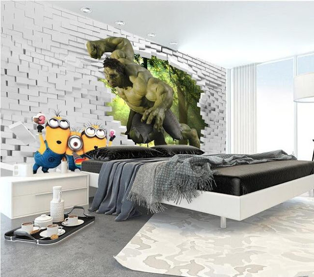 Wall murals for kids room bedroom wallpaper 3d Hulk breaking through brick wall