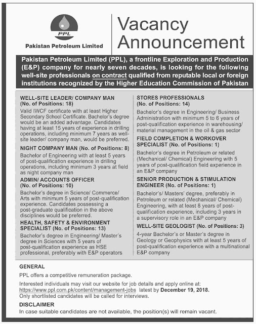 Pakistan Petroleum Limited PPL Jobs 2019 Apply Online By www.ppl.com.pk