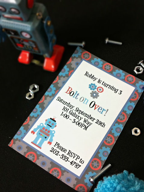 Robot Invite, Printable Invitation, Boys Party Invitations