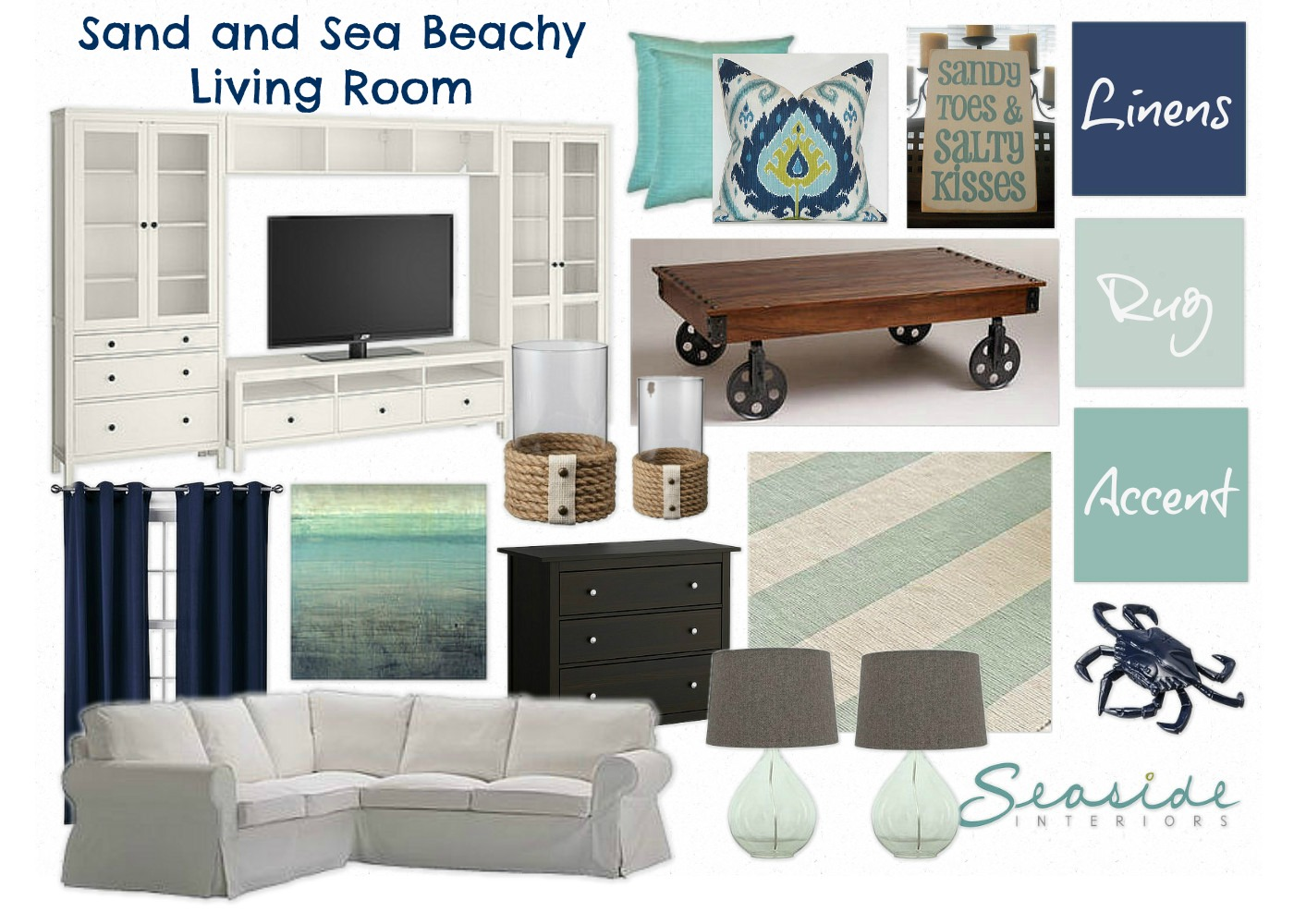 Seaside Interiors: Mood Board Link Party: Sand and Sea ...