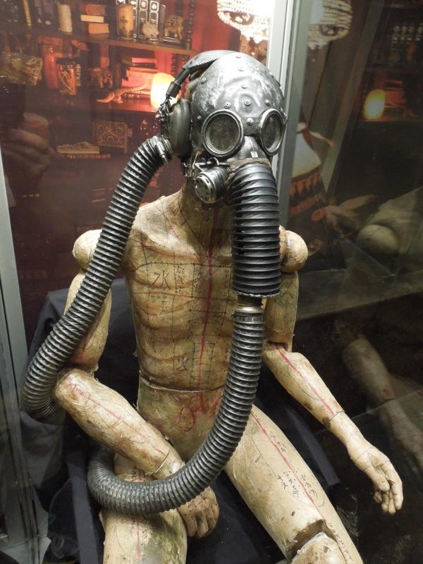 Gas mask wearing mannequin prop Insidious 2