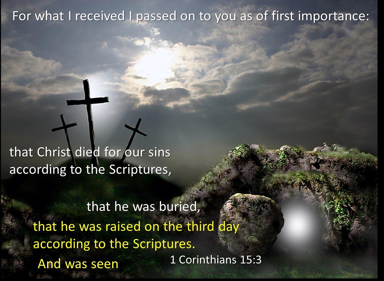 The elements of the gospel (1 Corinthians 15:3-6)