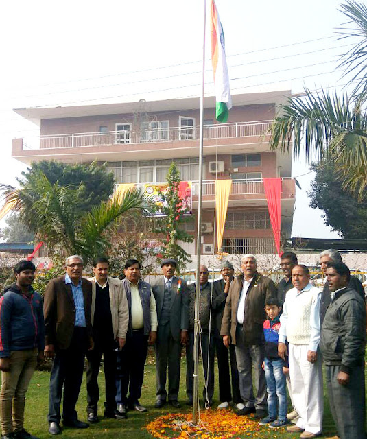 Hukmachand Lamba, head of Yadav Welfare Committee, Yadav flagged flag on Republic Day
