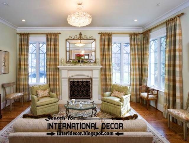 luxury living room curtain styles, colors and window treatments