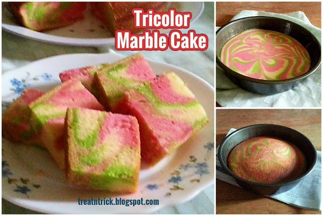 Tricolor Marble Cake Recipe @ treatntrick.blogspot.com