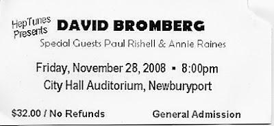 David Bromberg ticket stub, November 28, 2008