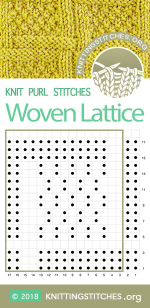 Square Lattice Knitting. Woven Lattice with Moss Stitch chart  #knitpurl