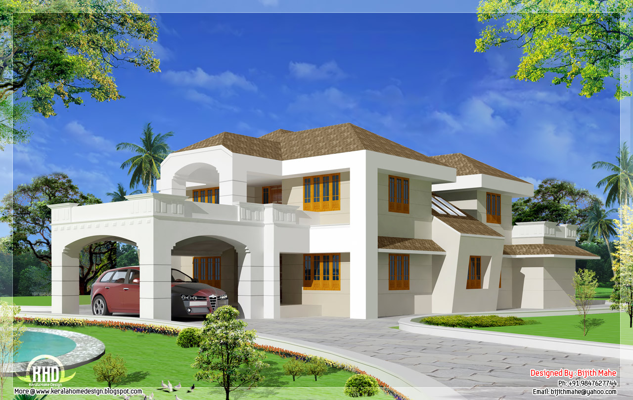 5500 super luxury indian house design kerala for Luxury home plans