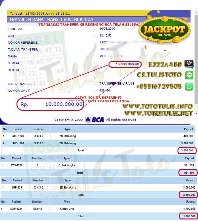JACKPOT TOGEL 2D SYDNEY DAN SINGAPORE TULISTOTO MEMBER JP 100% LANGSUNG DI BAYARKAN !!