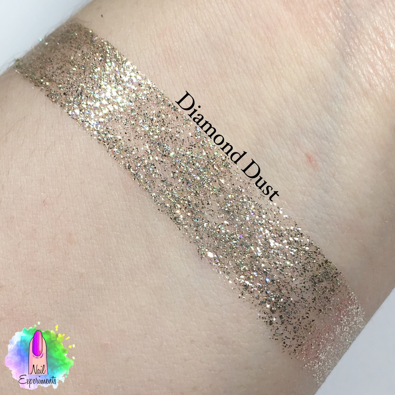 Stila magnificent metals glitter and glow liquid eye shadow swatch in Diamond Dust