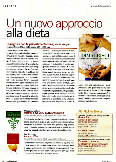 Articolo sulla rivista Cucina Naturale giugno 2013