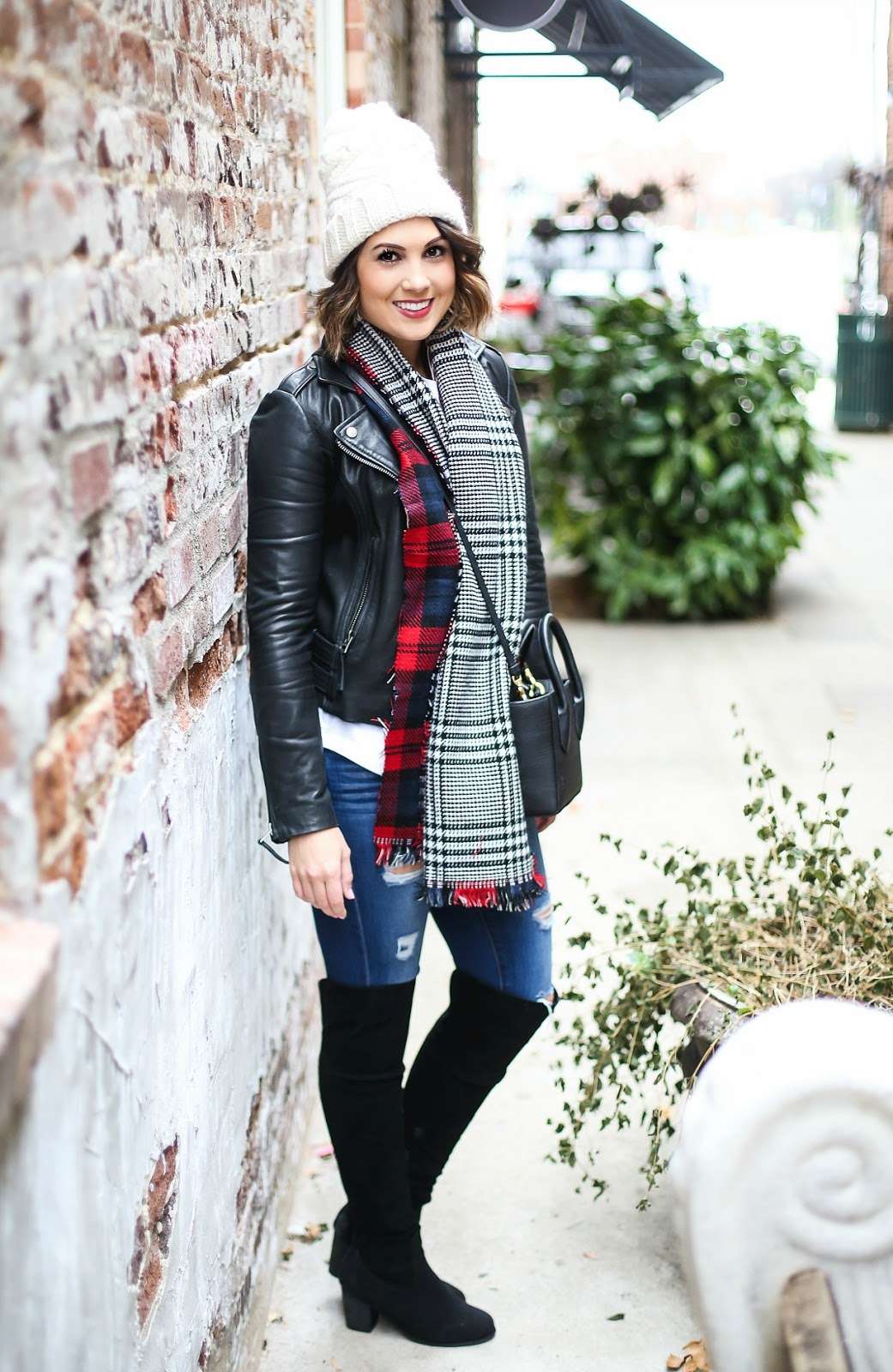 leather moto jacket blogger outfit