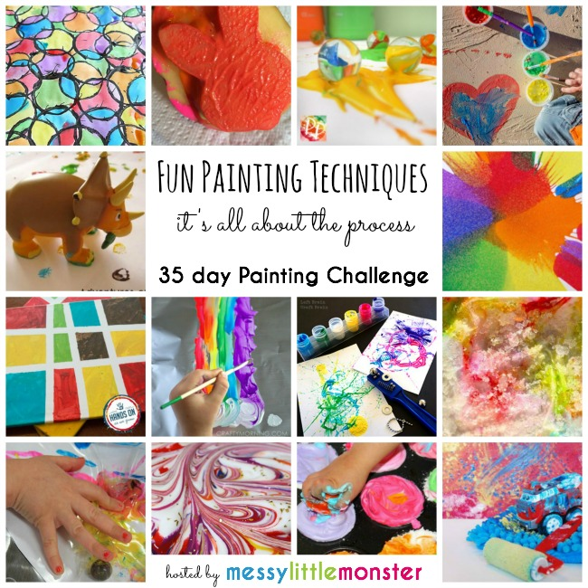 Fun painting techniques for kids: 35 day painting challenge focusing on the art process