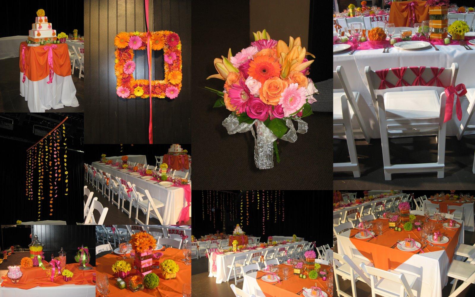 Fuschia And Orange Wedding Invitations: Pretty Posies: Orange And Hot Pink Wedding