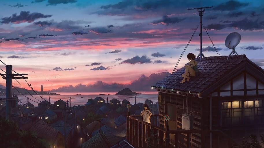 Sunset, Village, Sunset, Anime, 4K, #4.2438 Wallpaper