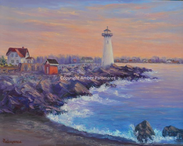 Portsmouth New Hampshire, Lighthouse original oil painting