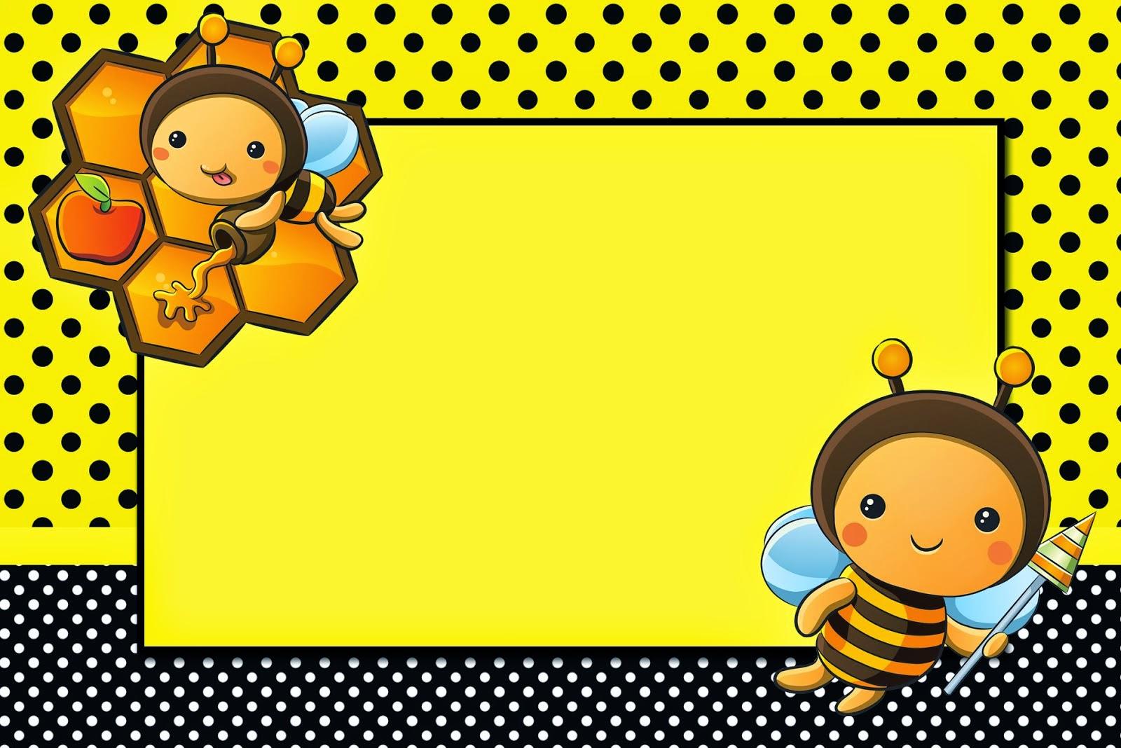 Para hacer invitaciones, tarjetas, marcos de fotos o etiquetas, para imprimir gratis de Abejitas Bebé.