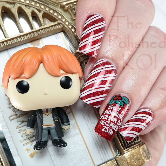 Candy Cane Holiday Nail Art