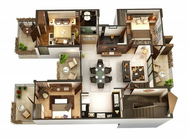 3 bedroom floor plans with two terraces