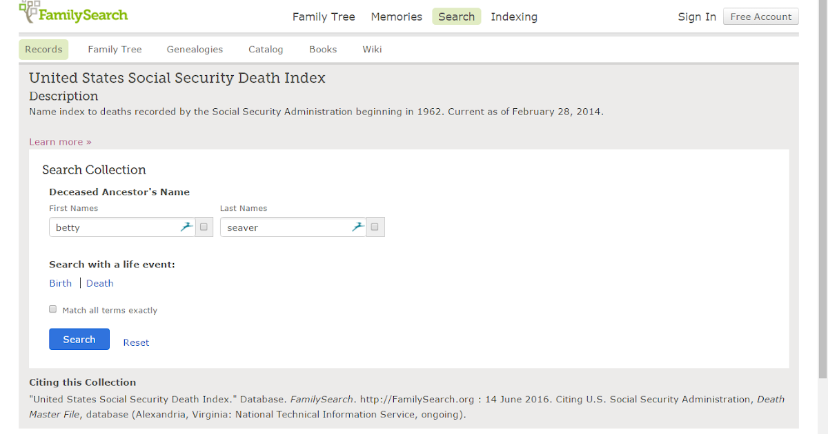 secial security death index file