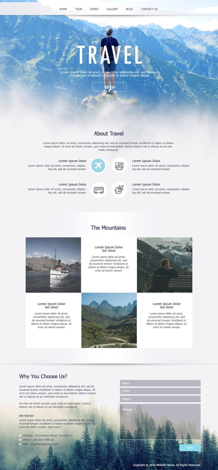 Design Travel Single Page Website Using Photoshop