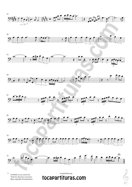 Hoja 2 de 2  Trombón, Tuba Elicón y Bombardino Partitura de Yo le seguiré (I will follow him) Sheet Music for Trombone, Tube, Euphonium Music Score