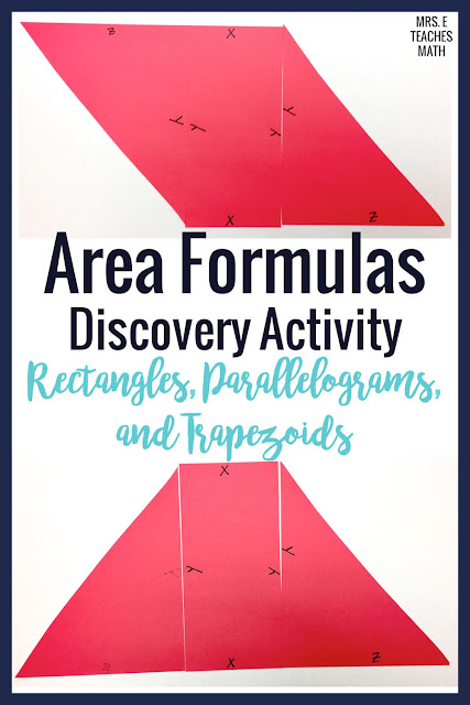 a discovery activity for the areas of rectangles, parallelograms, and trapezoids - helps students investigate and visualize the formulas