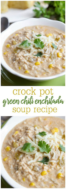 Crock Pot Green Chile Chicken Enchilada Soup