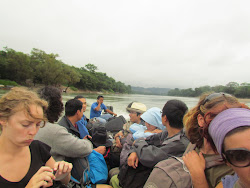 The panga boat river crossing into Mexico from Guatemala between bus transfers
