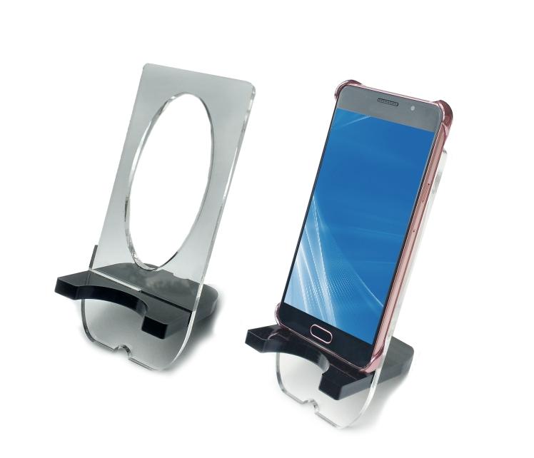 porta-celular em acrílico na cor preta e transparente com design exclusivo