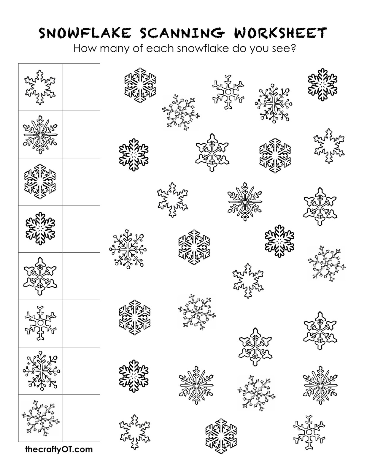 the crafty OT: Free Winter Worksheets