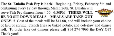 2-5 Thru 3-26 St. Eulalia Friday Fish Fry
