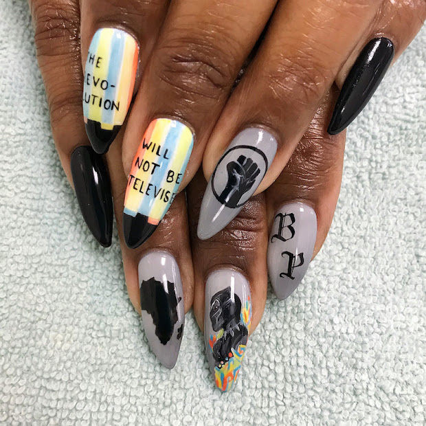 black panther inspired nails slay