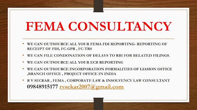 R V Seckar FEMA , Corporate Law & Insolvency Law Consultant 09848915177