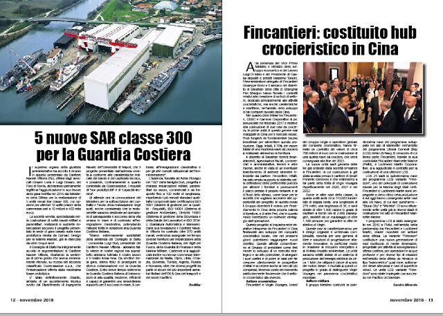 NOVEMBRE 2018 PAG. 13 - Fincantieri: costituito hub crocieristico in Cina