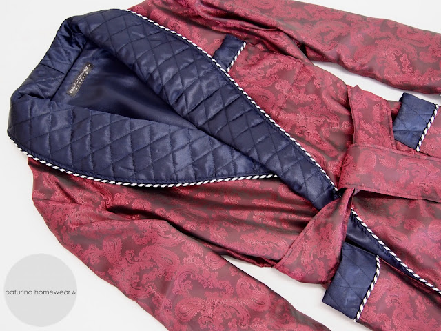 mens burgundy silk dressing gown paisley quilted warm long big size