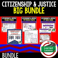 Citizenship and Justice, Civics Mega Bundle, Government Mega Bundle, Civics and Government Curriculum, Anchor Charts, Games, Digital Interactive Notebook, Google Classroom, Word Wall, Choice Boards, Guided Notes, PowerPoints, Test Prep, Document Based Questions
