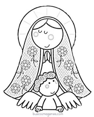 Imágenes de la virgen de Guadalupe para colorear.