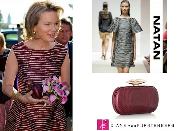 Queen Mathilde's NATAN Dress and DIANE VON FURSTENBERG Clutch Bag