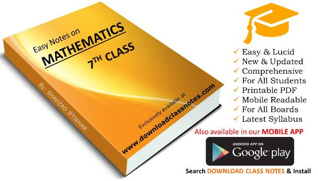 7th Class Mathematics Notes for Islamabad Model Schools & Colleges