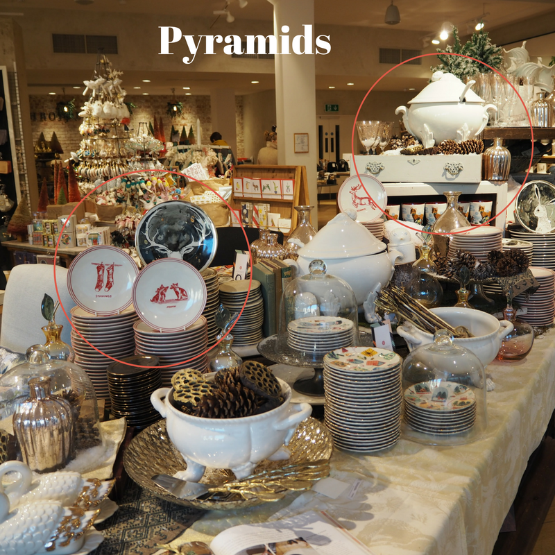 Using pyramids shapes with your products help people to focus on the top item and give height in your displays. This Anthropologie Christmas display shows this off nicely.